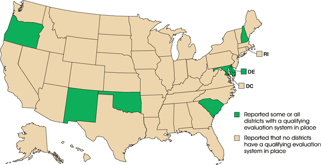Comparison Map - States selected (DE, MD, NH, NM, OK, OR, SC)